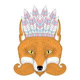 Cute boho red fox portrait, face with war bonnet french mustache Stock Photo