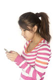 Cute Bolivian girl with phone Royalty Free Stock Images