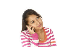 Cute Bolivian girl with phone Royalty Free Stock Image