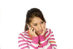 Cute Bolivian girl with phone Stock Image