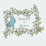 Cute Bonnie. Winter hare in flowers. Collection of hand-drawn cute natural frame from branches of a rose with a blue rabbit. floral borders. Cute Bonnie. Winter Royalty Free Stock Images
