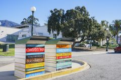 Cute book return box at Monrovia Library. Los Angeles County, California royalty free stock photo