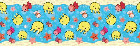 Cute border with yellow jellyfish and orange starfish playing with bubbles. Seamless vector pattern on blue plant stock illustration