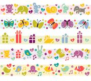 Cute borders with baby icons. Stock Images