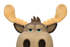 Cute bored moose cartoon animal 3d illustration. Rendering stock illustration