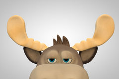 Cute bored moose cartoon animal 3d illustration Stock Photo