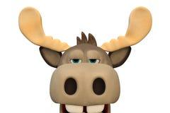 Cute bored moose cartoon animal 3d illustration Royalty Free Stock Photo