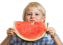 Cute bou eating water melon Royalty Free Stock Images