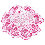 Cute bouquet of bright pink roses and light pink roses and messa Royalty Free Stock Image