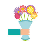 Cute bouquet of flowers nature icon Royalty Free Stock Photography