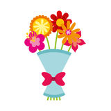 Cute bouquet of flowers nature icon Stock Photo
