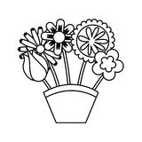 Cute bouquet of flowers nature icon Stock Image