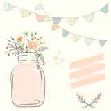 Cute bouquet of wedding flowers in a glass jar. Vector illustrat Stock Photo