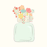 Cute bouquet of wedding flowers in a glass jar royalty free illustration