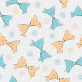 Cute bows and snowflakes seamless pattern Royalty Free Stock Photo