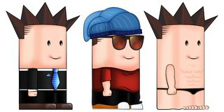 Cute Box Character with Different Costumes/ Looks. Businessman, Rapper, Beach Boy vector illustration