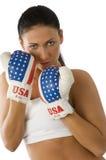Cute boxing woman Royalty Free Stock Photos