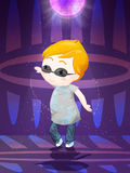 Cute boy. Little glamour character dance in club Royalty Free Stock Image