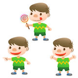 Cute boy. With lollipop and actions Stock Images