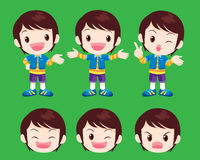 Cute boy actions. Vector cute boy look smart many actions Royalty Free Stock Photo