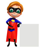 Cute boy as a superhero with white board Stock Photos