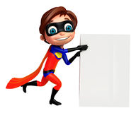 Cute boy as a superhero with white board Royalty Free Stock Images