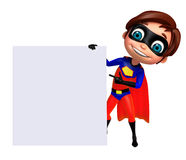 Cute boy as a superhero with white board Royalty Free Stock Photo