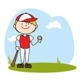 Cute boy avatar character playing baseball Royalty Free Stock Images