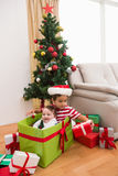 Cute boy and baby brother at christmas Stock Images