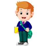Cute boy with backpack cartoon Stock Images