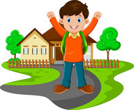 Cute boy with backpack go to school Stock Images