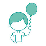 Cute boy with balloon air character Stock Images