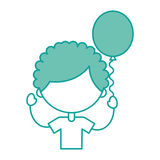 Cute boy with balloon air character Stock Photography