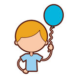 Cute boy with balloon air character Royalty Free Stock Photo