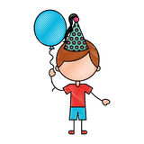 Cute boy with balloon air character Royalty Free Stock Images
