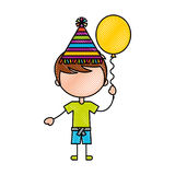 Cute boy with balloon air character Royalty Free Stock Image