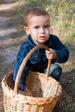 Cute boy and basket Royalty Free Stock Photo
