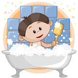 Cute boy in the bathroom Royalty Free Stock Photography