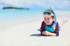 Cute boy at beach Stock Images