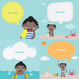 Cute boy on the beach II with speech bubble: Kids Royalty Free Stock Images