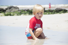 Cute boy at the beach Royalty Free Stock Photography