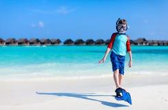 Cute boy at beach Stock Photos