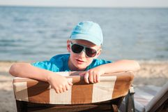 Cute boy at the beach Royalty Free Stock Photos