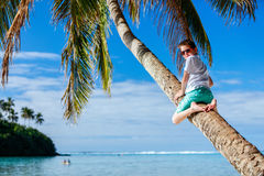Cute boy on beach vacation Stock Images