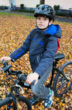 Cute boy on bicycle Royalty Free Stock Photos