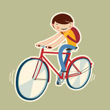 Cute boy on a bike. Cartoon character isolated. vector illustration Stock Image