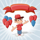 Cute boy on a birthday party. With balloons and red ribbon Stock Image