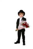 Cute boy in black tuxedo Stock Photography