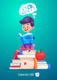 Cute boy with books. Back to school illustration