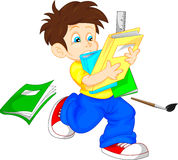 Cute boy with books Royalty Free Stock Images